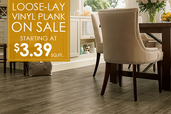 Loose-lay vinyl plank on sale starting at $3.39 sq.ft.
