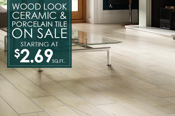 Wood look ceramic & porcelain tile on sale starting at $2.69 sq.ft.